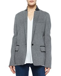 Vince Leather Trim Wool Blazer