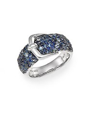 Effy Sapphire And Sterling Silver Buckle Ring Blue