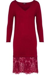 Raoul Lace Paneled Merino Wool Dress Claret