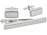 Stacy Adams Silver With Textured Silver Inlay Set Silver Cuff Links