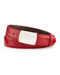W.Kleinberg Glazed Alligator Belt With Plaque Buckle Red Made To Order