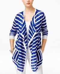 G.H. Bass And Co. Striped Open Front Cardigan Lapis Combo