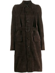 Rick Owens Long Belted Coat Brown