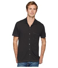 Agave Denim Fort Point Short Sleeve Full Button Polo Stretch Limo Short Sleeve Pullover Black