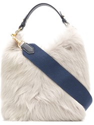 Anya Hindmarch Build A Bag Mini In Steam Long Shearling With Marine Blue