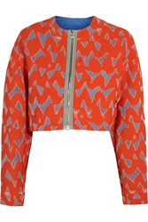 Markus Lupfer Lexi Cropped Cotton Blend Jacquard Jacket Red