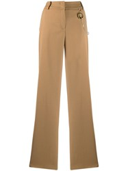 Class Roberto Cavalli High Waisted Trousers Neutrals