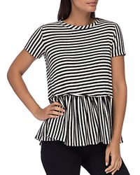 B Collection By Bobeau Jasey Stripe Peplum Top Black White