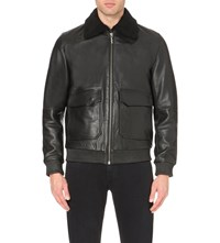 Nudie Jeans Pocket Detail Leather Jacket Black
