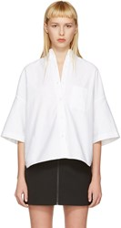 R 13 R13 White Cropped Big Oxford Shirt