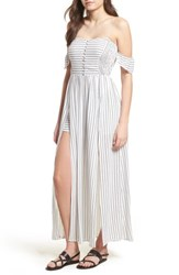 Lush Button Front Off The Shoulder Maxi Romper Ivory Stripe