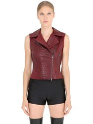 Jose' Sanchez Croc Embossed Nappa Leather Moto Vest