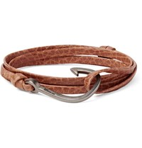 Miansai Grained Leather And Silver Plated Hook Wrap Bracelet Tan