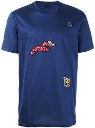 Lanvin Floral Embroidered T Shirt Blue