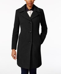 Anne Klein Petite Wool Cashmere Blend Button Front Walker Coat Only At Macy's Black