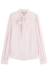 Michael Kors Collection Bow Front Silk Blouse Rose