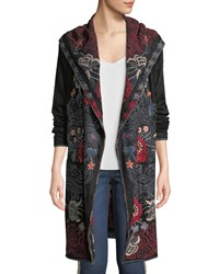Johnny Was Bella Hooded Open Front Embroidered Cardigan Black