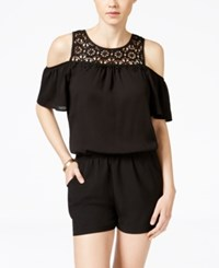 Amy Byer Bcx Juniors' Lace Trim Cold Shoulder Romper Black