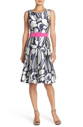 Women's Eliza J Belted Jacquard Fit And Flare Dress Navy