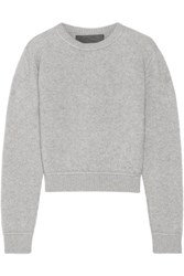 The Elder Statesman Cropped Cashmere Sweater Gray