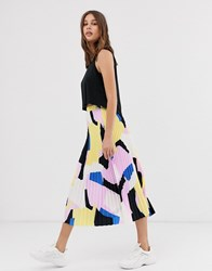 Selected Femme Abstract Pleated Midi Skirt Multi
