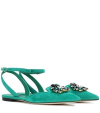 Dolce And Gabbana Bellucci Embellished Suede Sandals Green