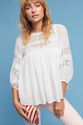Anthropologie Moya Peasant Top White