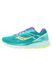 Saucony Swerve Neutral Running Shoes Teal Purple Citron Blue