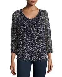 Diane Von Furstenberg Petite Davi 3 4 Sleeve Silk Animal Print Blouse Women's Animal Paint Tiny