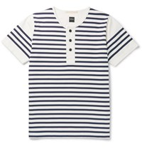 Albam Striped Cotton Jersey Henley T Shirt White