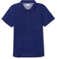 Universal Works Vacation Cotton Blend Terry Polo Shirt Navy
