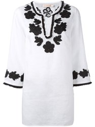 Tory Burch Floral Embroidery Blouse White