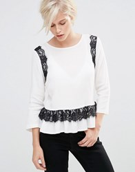 Girls On Film Long Sleeve Top With Lace Detail Monochrome White
