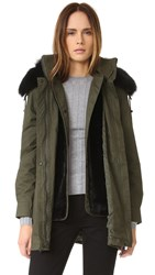 Derek Lam Parka With Detachable Fur Trim Army