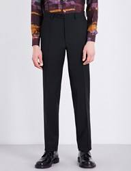 Brioni Regular Fit Wool And Mohair Blend Trousers Black