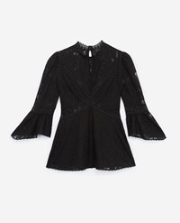 The Kooples Black Lace Top With Crew Neck