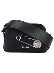 Versus Oversized Pin Clutch Women Leather Metal One Size Black