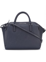 Armani Jeans Double Handles Structured Tote Women Pvc One Size Blue