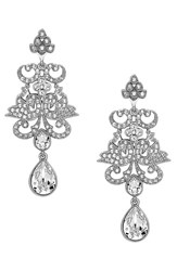 Nina Women's Crystal Chandelier Earrings Silver