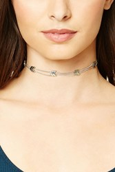 Forever 21 Chevron Chain Choker Antique Silver