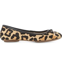 Dune Hero Leopard Print Pony Finish Ballet Pumps Leopard Pony