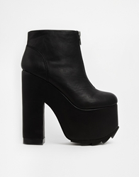Yru Nightmare Zip Black Platform Ankle Boots