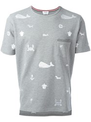 Thom Browne Embroidered Pocket T Shirt Grey