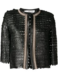Caban Romantic Cropped Scalloped Pattern Jacket Black