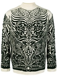 Jean Paul Gaultier Vintage Tribal Intarsia Pattern Jumper Nude And Neutrals