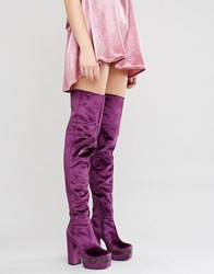 Asos Keats Platform Over The Knee Boots Purple Velvet