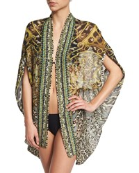 Camilla Open Front Printed Silk Cardigan Cape Coverup Armada Women's