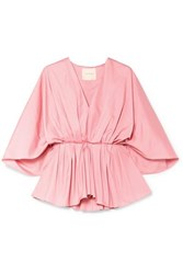 Roksanda Ilincic Aniya Pleated Cotton Poplin Peplum Blouse Pink
