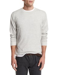 Brunello Cucinelli Striped Long Sleeve Cashmere Tee Fog Mid Gray Men's Size 54 Fog Mid Grey