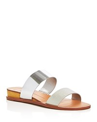 Dolce Vita Payce Metallic Lizard Embossed Demi Wedge Slide Sandals Silver